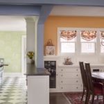 breakfast-nook-wall-sconces-soft-close-drawers-orange-Benjamin-Moore-decorative-columns