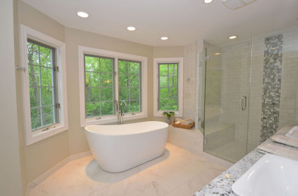 soak-bath-tub-freestanding-glass-shower-tile-floor-ceiling-master-suite-renovation