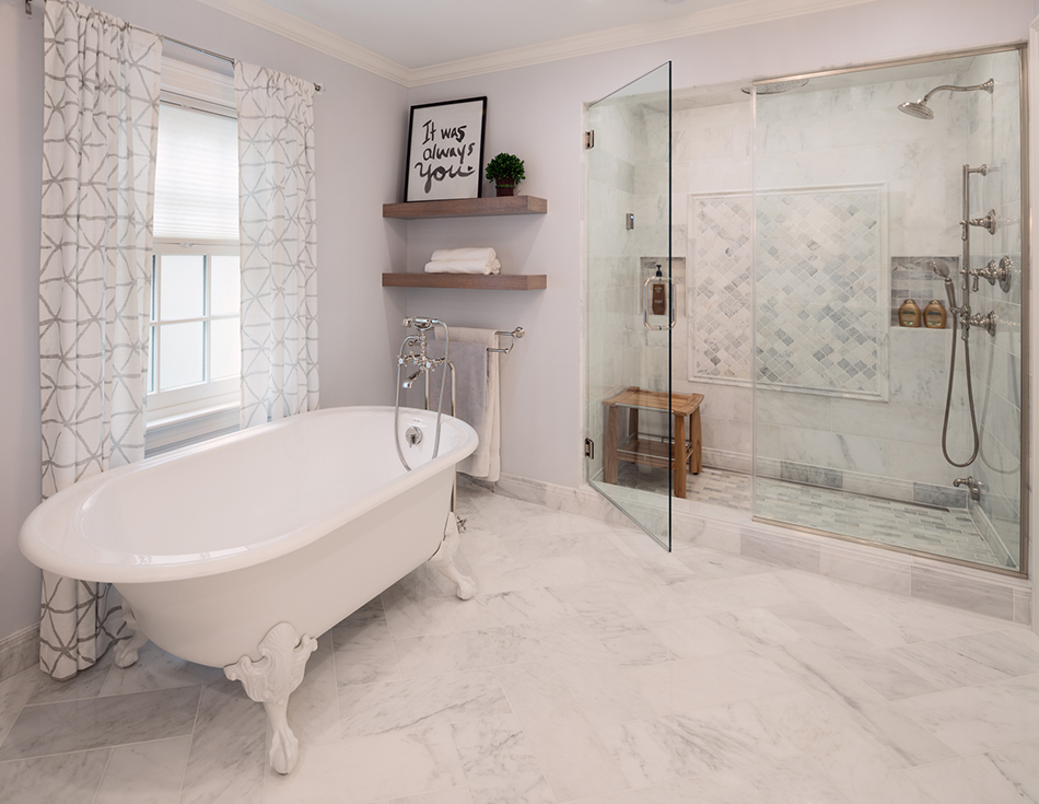 claw-foot-bath-soaking-tub-glass-shower-steam-marble-floor