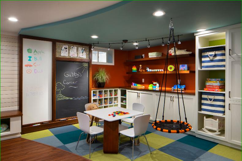 carpet-tiles-built-in-cubbies-custom-cabinets-kids-white-board