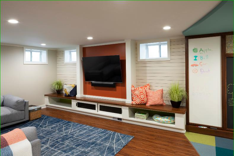kids-playroom-stained-walnut-bench-seating-LV-plank-flooring