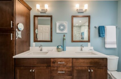 birch-cabinets-soft-close-drawers-Kohler-chrome-faucet-quartz-frost-white-vanity-undermount-sink