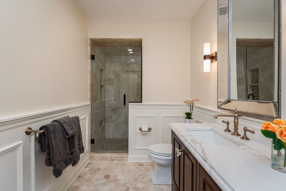 marble-tile-granite-counter-top-Kohler-hardware-master-bathroom-Lakeshore-Milwaukee